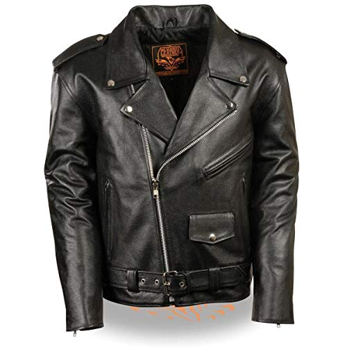 Milwaukee Leather LKM1781 Men's Classic Police Style Black Leather Motorcycle Jacket - 5X-Large