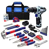 WORKPRO 12V Cordless Drill and Home Tool Kit, 177 Pieces Combo Kit with 14-inch Tool Bag