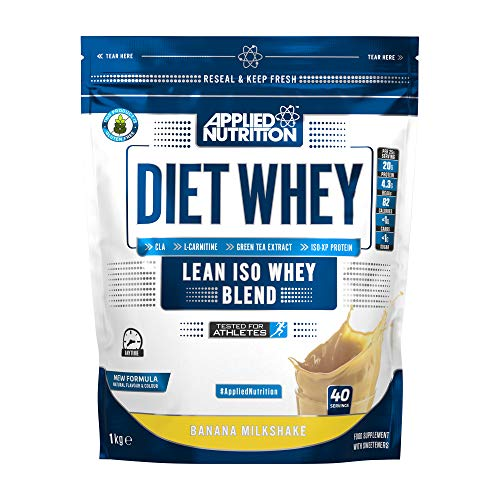 Applied Nutrition Diet Whey Protein Powder, High Protein, Low Carb, Low Sugar, Weight Loss with CLA, L Carnitine, Green Tea, High PhD Supplement 1kg - 40 Servings (Banana Milkshake)