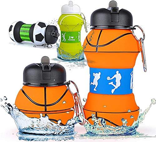 Botella Agua Silicona Diseño Baloncesto y Deporte - Niños, Niñas y Adultos- Plegable - Libre de BPA - Muy Resistente - Agua Limpia y Pura - 550ml