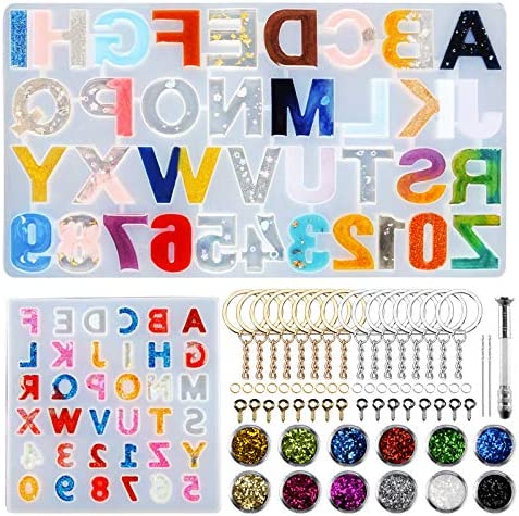 Alphabet Resin Molds Reversed 255 PCS Letter Number Silicone Resin Molds Epoxy Resin Casting product image