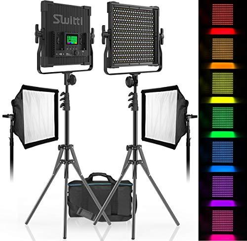 Video Licht mit Light Stativ Softbox 2 Packs, CRI 96 + Dimmbares zweifarbiges 3000K-8000K-Panel-Licht, Fotobeleuchtung, für Videoaufnahmen von Porträtprodukten YouTube Studio Fotografie