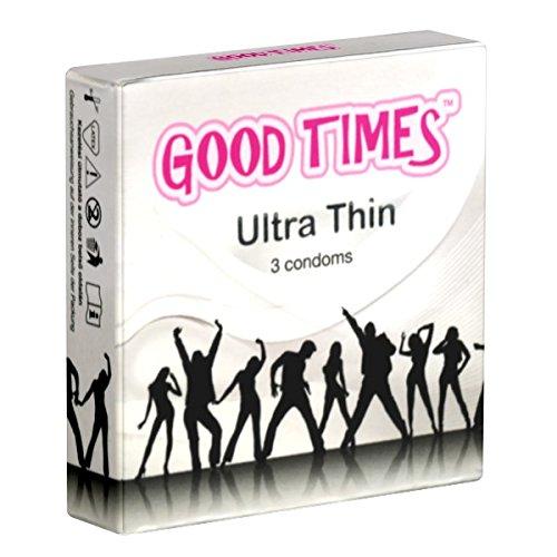 GoodTimes Ultra Thin 3 gefühlsechte Kondome (10% dünner als Standardkondome), freches Party-Design