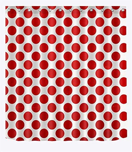 LB Punkt Muster Entwurf Duschvorhang Wohnkultur Große rote Punkte,weißer Hintergr& 150W x180H cm,wasserabweisend,Polyester Stoff,Badezimmervorhang mit HakenRing