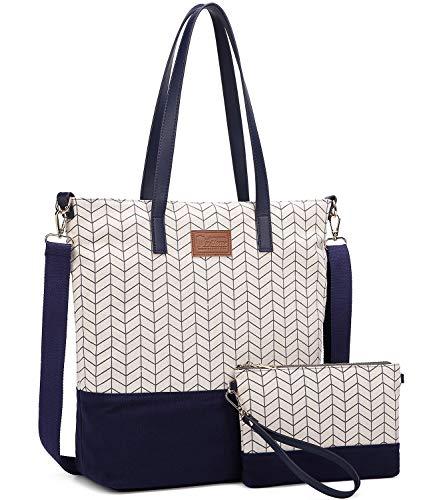 Myhozee Damen Handtasche Canvas Groß Schultertasche Tasche mit Einer Portmonee 2 Sets, Blau