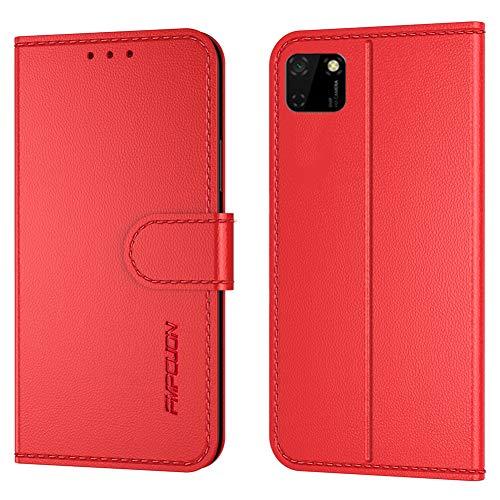 FMPCUON Cover per Huawei Y5 P/Honor 9S 5.45'',Flip Case in Pelle PU Premium Custodia Caso Custodie cellulari per Huawei Y5 P/Honor 9S 5.45'' - Rosso