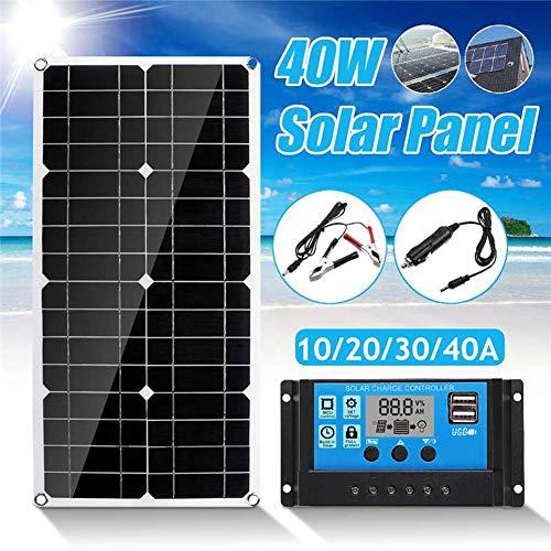biteatey 40 W 40 A Panel Solar, módulo Solar portátil Panel con Puerto USB Impermeable Banco de energía para Camping al Aire Libre, Senderismo, 540 x 280 x 2,5 mm ricamente