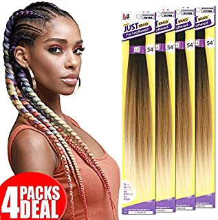 [4PACKS DEAL] Bobbi Boss Synthetic Pre-feathered Premium Braiding Hair JUST BRAID 54