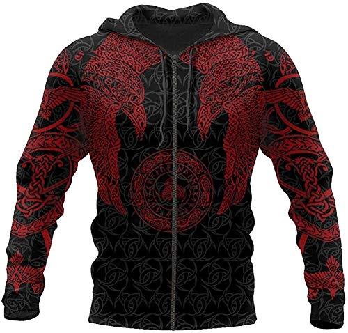 DFWY Vintage Odin Crow Hoodie, Nordic Mythology Viking Tattoo 3D gedruckt Pullover Sweatshirt, Herbst Mode Unisex Langarm Harajuku Straßenjacke (Color : Red Hoodies Zip, Size : L)