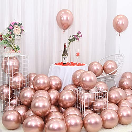 Roségold Ballon Metallic Luftballons 100 PCS 10 Zoll Roségold Latex Luftballons für Geburtstag Verlobung Hochzeit Babyparty Festival Party Dekorationen Roségold mit Ballon Knotter EXGOX