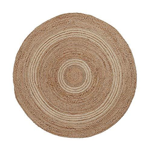 Kave Home - Alfombra Saht Redonda Ø 150 cm de Yute Natural y tenzado de algodón Gris