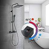 ARCORA Duscharmatur Duschsystem Duschset mit Thermostat Regendusche Schwarz Duschgarnitur Brausegarnitur mit Wasserfall Duschkopf 22x22 Handbrause