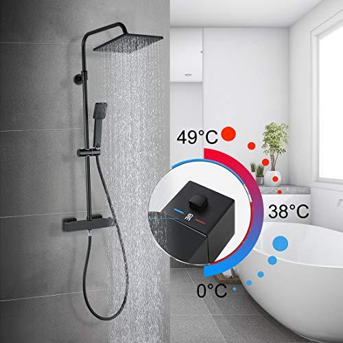 Duschsystem mit Thermostat Duscharmatur Duschset Regendusche Duschgarnitur Brausegarnitur mit Wasserfall Belüfter Duschkopf Handbrause für Badezimmer Dusche