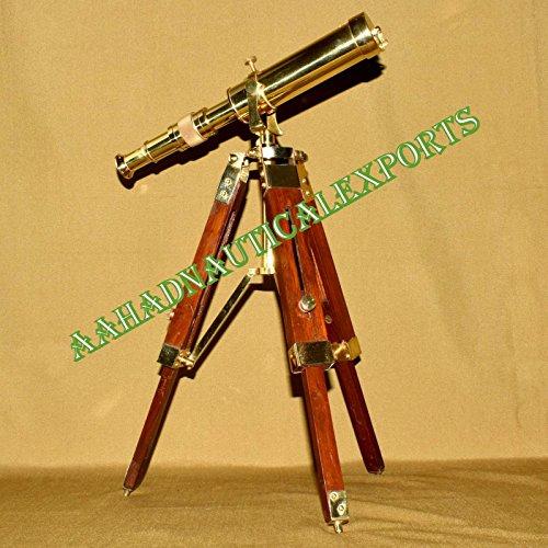 Asmara Nautical Vintage Marine Messing Teleskop mit Holzstativ A