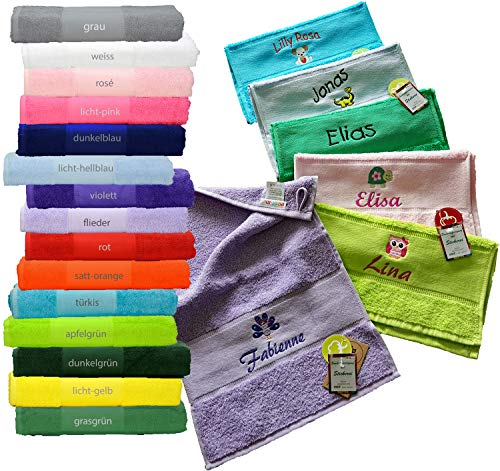 me Handtuch 50x100cm mit Namen & Motiv bestickt (14 Farben zur Auswahl)