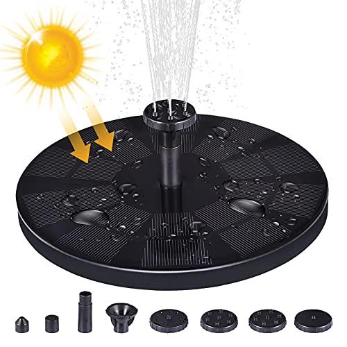 Fuente solar para exteriores, bomba estanque con panel de 3 W, fuente 8 boquillas, batería integrada 1600 mAh, agua estanque, jardín (18 cm diámetro, sin luz)