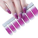 Cosanter Glitzer Nagelaufkleber Nail Art Aufkleber DIY Nagelspitzen, 1 Blatt 14pcs Nagelkunst Aufkleber Zubehör (Rosa)