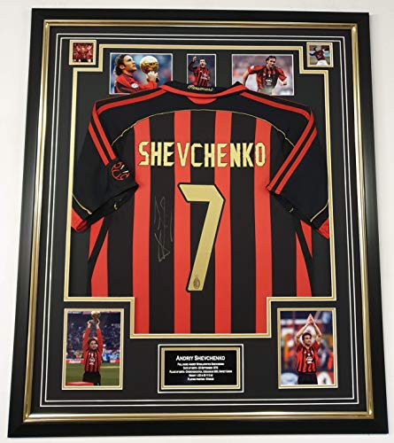 WWW.SIGNEDMEMORABILIASHOP.CO.UK Andriy Shevchenko Firmato Jersey Legend AC Milan Display