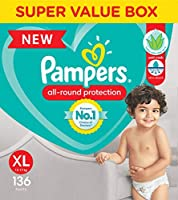 Pampers All round Protection Pants, Extra Large size baby diapers (XL), 136 Count, Anti Rash diapers, Lotion with Aloe Vera