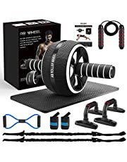 AILUKI Ab Roller Ab Scooters Abs Trainer Abs Trainer from Wheel Set with Fitness Band Jump Rope High Shooting Handle Figure 8 Exercise Bands Abs Exercise for Men Women