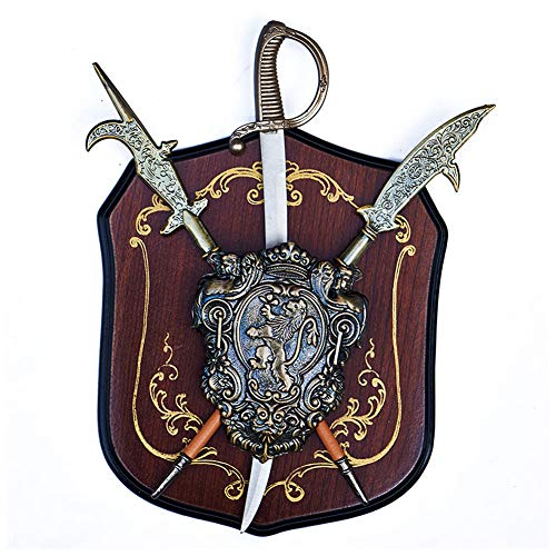 Fikujap Mittelalterliche Ritter Schwert und Schild, Schmiedeeisen Wand hängende Verzierung, für Wohnzimmer Bar Wanddekoration,D