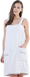 SANLI Women's Spa Bath Towel Wrap, Shower Robe - Plush Soft Terry Cotton Bathrobe with Straps