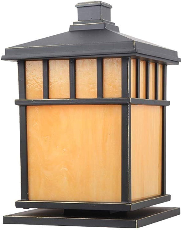 Pinjeer Traditionelle E27 Outdoor gelb PVC Spalte Lampe Vintage Square IP42 wasserdicht Metall Aluminium Auenwand Sule Licht Garten Hof Villa Landschaft dekorative Post Licht (Gre   Height 32cm)