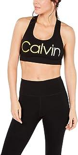 Calvin Klein Performance Ombre Logo Racerback Medium-Impact Sports Bra Yellow XXL