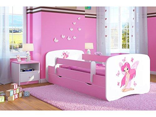 Bjird Kinderbett Jugendbett 70x140 80x160 80x180 Rosa mit Rausfallschutz Matratze Schublade und Lattenrost Kinderbetten für Mädchen - Fee mit Schmetterlingen 180 cm