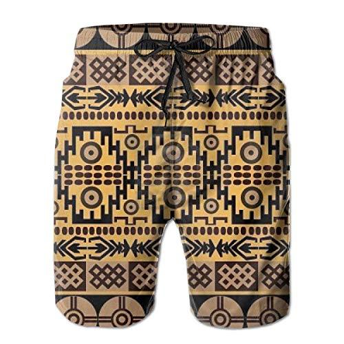 EU Afrikanische ethnische Muster Herren Badehose Schnelltrocknende Badeanzüge Sommerferien Strandshorts mit Taschen L.
