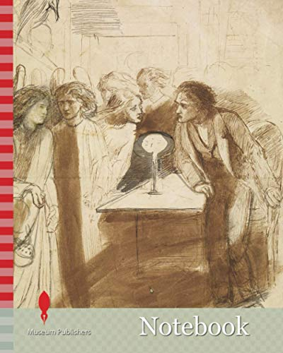 Notebook: The Raven, Angel Footfalls, 1847 Dante Gabriel Rossetti, A man rises from a chair to gaze in the face of an angel, Drawing, Ink, Angel, Sketch, Pre-Raphaelite