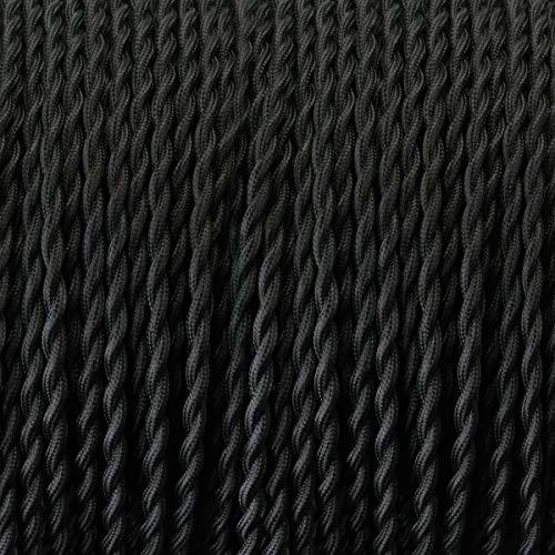 LED Lighting Fils Electriques Torsadé Tissu Rétro, câble électrique tressé recouvert de textile, câble de lumière de 2 fils (2x0.75mm²) pour les Accessoires de Lampe Bricolage (Noir, 15M)