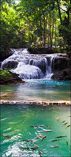 wandmotiv24 Türtapete Erawan Wasserfall, Thailand 90 x 200cm (B x H) - Dekorfolie selbstklebend Sticker für Türen, Tür-Bilder, Aufkleber, Deko Wohnung modern M1059