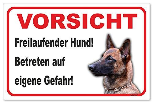 AdriLeo Schild - Vorsicht Malinois - Freilaufender Hund - (20x30cm) / Achtung Wachhund