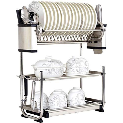 KFDQ Escurridor de platos de acero inoxidable 304 grande de 3 niveles para cocina, bandeja para secadora, soporte para cubiertos, estantes multifunción con bandeja extraíble,57 × 25 × 57.5cm