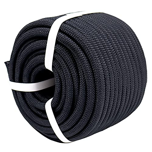"""YUZENET Braided Polyester Arborist Rigging Rope (3/8"""" X 100') Strong Pulling Rope for Climbing Sailing Camping Swings,Black"""