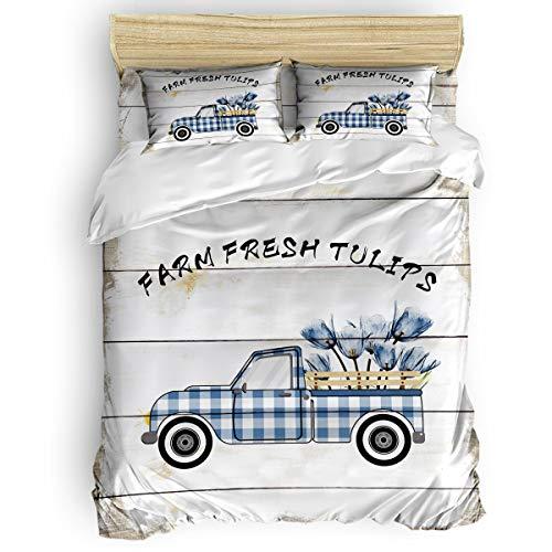 Duvet Cover Set Printed 4 Pcs Bedding Set King Size Include Duvet Cover, Bed Sheet, Pillow Shams Farm Fresh Tulips Wood Grain Soft Quilt Sets for Children/Adults