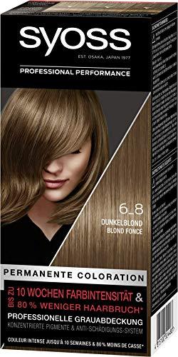 SYOSS Coloration Stufe 3 6_8 Dunkelblond, bis zu 10 Wochen Farbintensität, 3er Pack (3 x 115 ml)