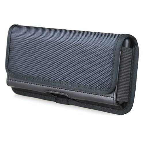 aubaddy Gürteltasche für Samsung Galaxy S20 Ultra 5G, A90 5G, A80, A70, A70s, Sony Xperia 1, Xperia 10 Plus, Gürtelclip mit Ausweishalter Magnetverschluss (passend für dünne Hülle) schwarz
