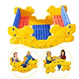 Johuka Seasaw Rocker, 2 in 1 Multipurpose Picnic Table and Teeter Totter Play Set for Kids Indoor/Outdoor Seesaw Rocking Toy Playground Equipment (Rocking Chair Seesaw Rocker, Yellow)