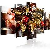 murando - Bilder 200x100 cm Vlies Leinwandbild 5 TLG Kunstdruck modern Wandbilder XXL Wanddekoration Design Wand Bild - Weltkarte Abstrakt k-A-0017-b-o