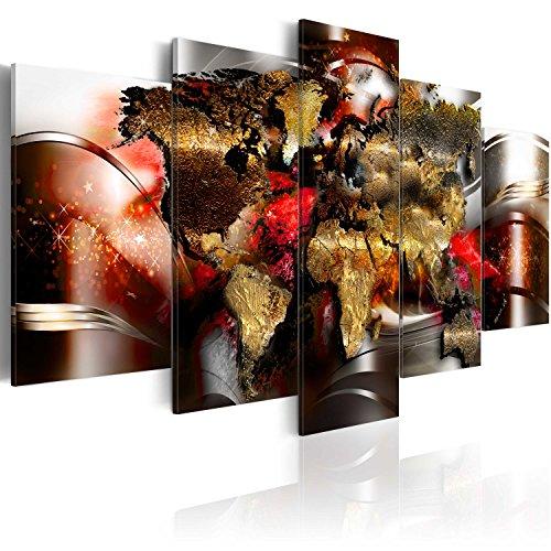 murando - Bilder Weltkarte 200x100 cm Vlies Leinwandbild 5 TLG Kunstdruck modern Wandbilder XXL Wanddekoration Design Wand Bild - Weltkarte Kontinente World Map Abstrakt Gold Silber k-A-0017-b-o