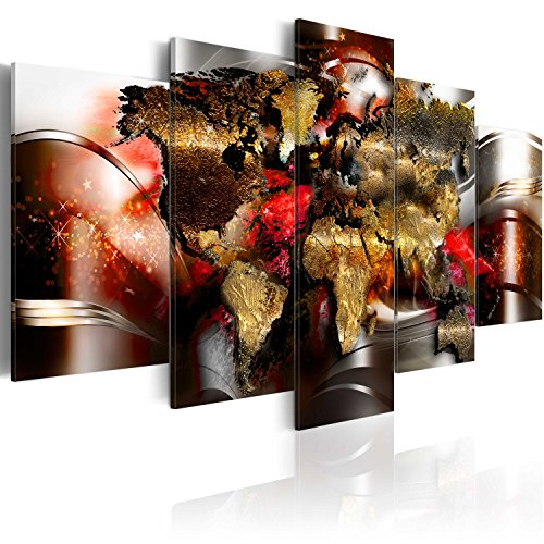 murando Acrylglasbild Abstrakt 200x100 cm 5 Teilig Wandbild auf Acryl Glas Bilder Kunstdruck Moderne Wanddekoration - Weltkarte Abstrakt Reise Kontinente Sterne k-A-0017-k-o