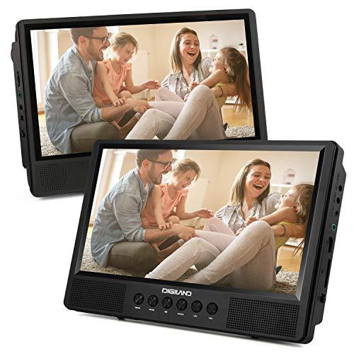 Digiland 10,1 Zoll DVD Player Auto Tragbar 2 Bildschirme Dual HD Kopfstütze Monitor, Unterstützt SD/USB AV IN/Out 12V, Inkl. Fernbedienung, 2 Kopfstützenhalter (1 Master +1 Sklave) - DL1066X