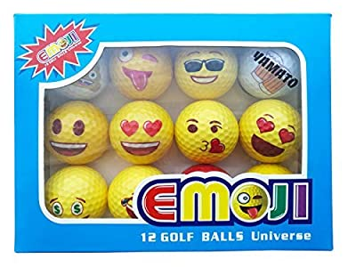 yamato Premium Emoji Golf Balls, 12 Pack Dual-Layer Novelty Professional Practice Golf Balls, Novelty Gift for All Golfers