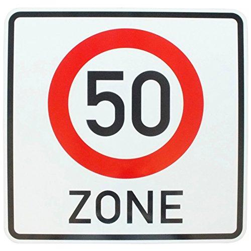 ORIGINAL Verkehrszeichen 50 ZONE mit RAL Gütezeichen 60 x 60 cm StVO Verkehrschild für Geburtstag Geschenk Geburtstagsschild Straßenschild Verkehrsschilder Schild Schilder Strassenzeichen Strassenschilder Geschwindigkeitsschild Zonenschild 50 km/h