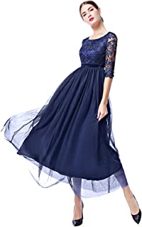 Women Retro Floral Lace Long Dress 1/2 Sleeve Bridesmaid Wedding Evening Party Cocktail Maxi Gown