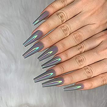 Morily Metallic Shiny Mirror Grey 24pcs Fake Nails Long Coffin Ballerina Press on Nail False Tips Artificial Finger Manicure for Women and Girls  M02