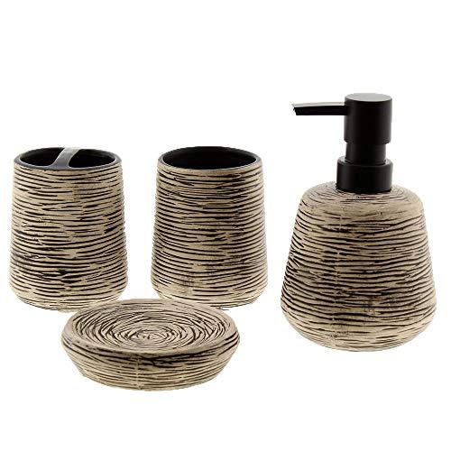 Cuco´S Nest Set de Baño de 4 Piezas de Ceramica Mod. Stripes 2. Conjunto de Accesorios de sobreponer para el Lavabo.