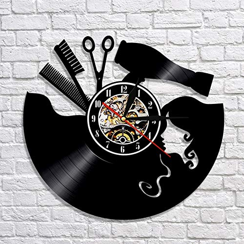 BFMBCHDJ Schallplatte Wanduhr Modernes Design Friseur Uhren 7 LED Farbwechsel Wanduhr Home Decor für Barbershop Salon Wandschild